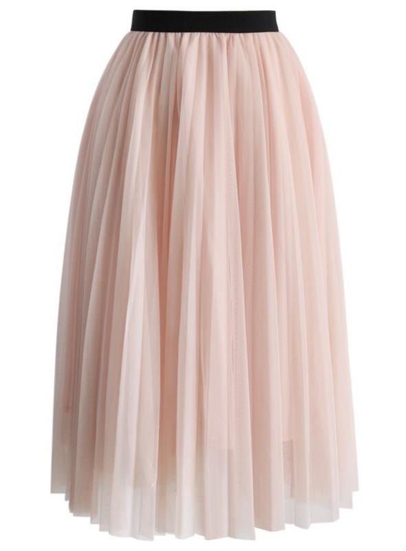 Tylová světle růžová sukně