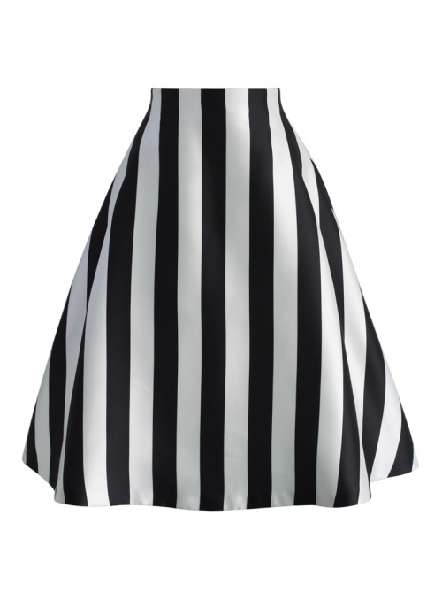 """Zebra"" - stylish, black and white skirt with stripes"