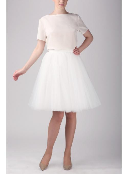 Tylová sukňa baletná biela krátka