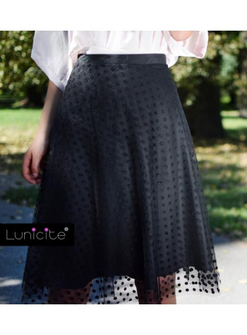 Lunicite ČERNÝ HRÁŠEK - exkluzivní tylová sukně s puntíky, černá