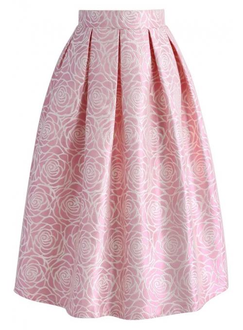 Midi sukně z Jaquardu s květy růží - růžová