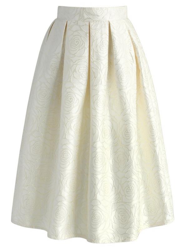 Midi sukně z Jaquardu s květy růží - šampaňská