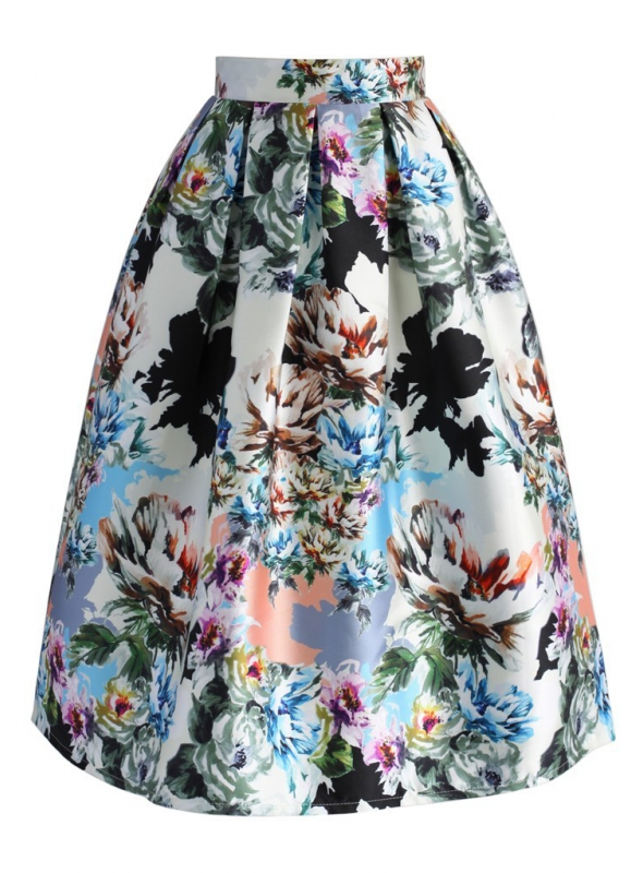 """Midi sukně ,, Zpěv květů """""""