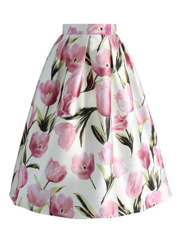 """Midi sukně ,, V objetí tulipánů """""""