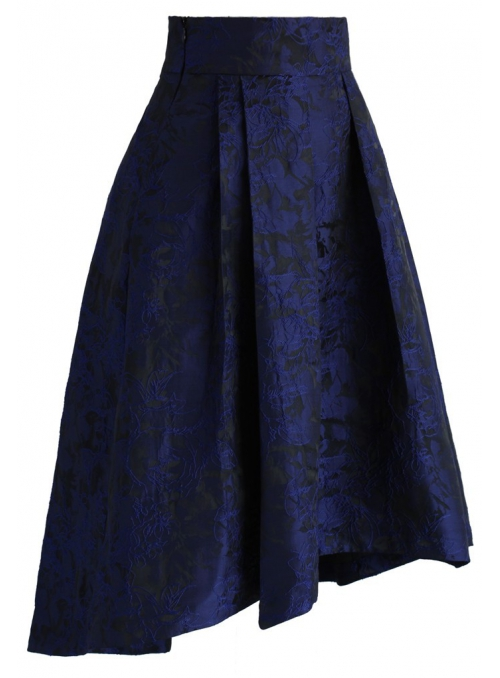 Midi sukně s kvietkovým reliéfem, modrá