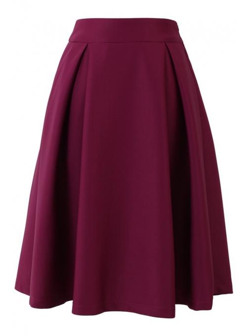 Elegantní midi sukně, burgundy