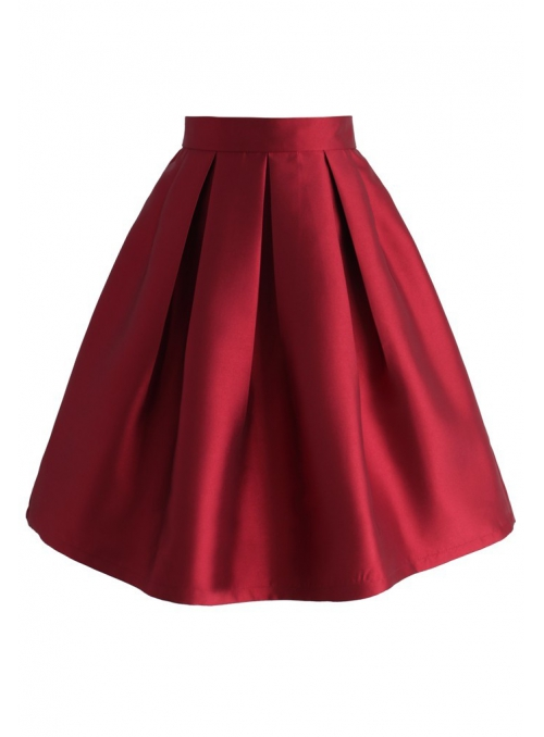 Skládaná sukně, vínová