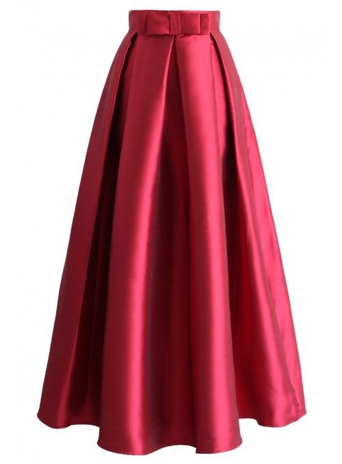 Skládaná maxi sukně, červená