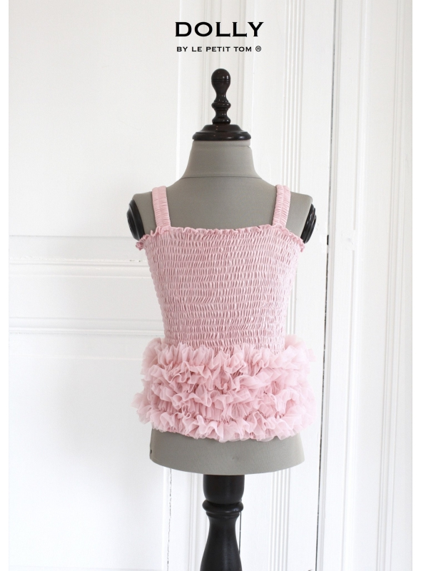 Nařasený baletní top DOLLY, růžičkovo růžová