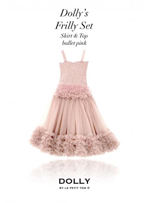 Dolly set: nařasený baletní top a sukýnka, baletní růžová