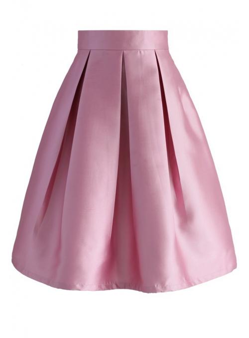 Skládaná růžová sukně