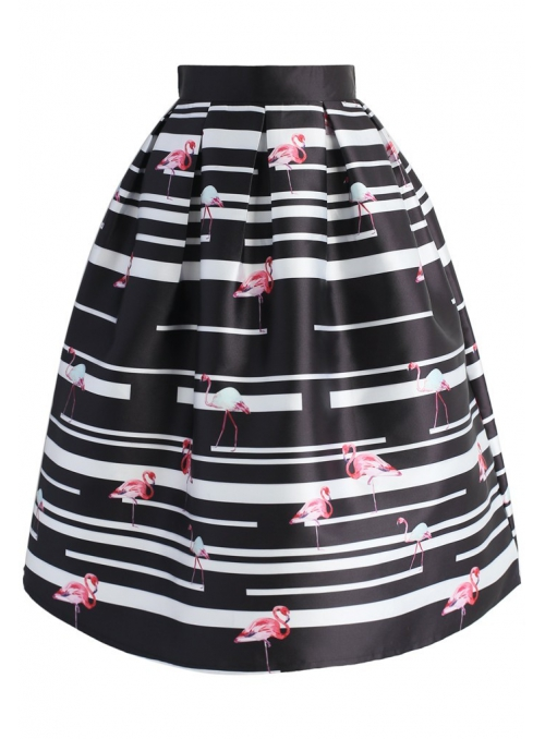 "MIDI SKIRT ""Black and white flamingo"""