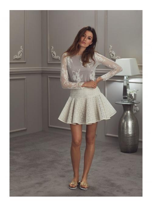 """""""Sněženka"""" - sukně s krajkou, béžová"""