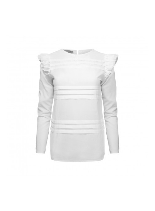 "Top ""Pamela"" with ruffles, white"