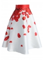 "MIDI SKIRT ""Rose petals"" red"