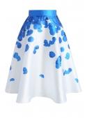 "MIDI SKIRT ""Rose petals"", blue"