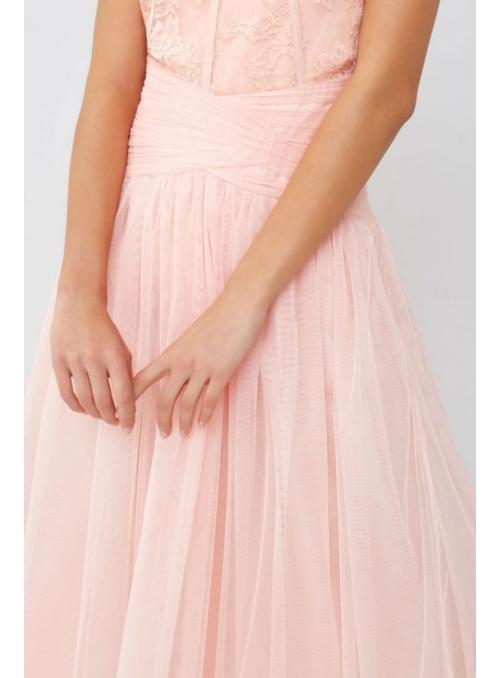 Midi luxusná pudrovo ružová sukňa