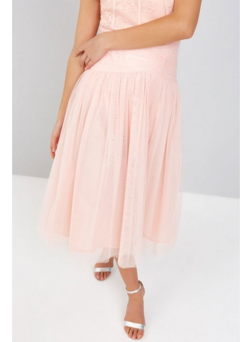 Midi luxury powdery pink skirt