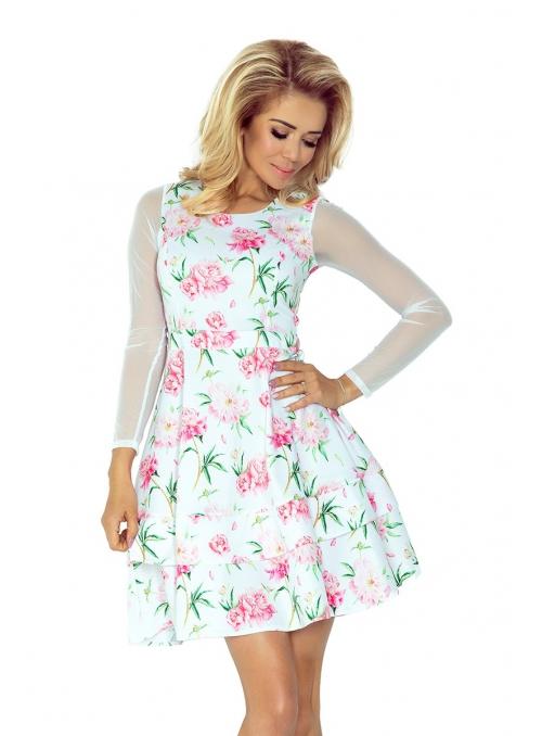 Biele šaty s potlačou kvetín a tylovými rukávmi