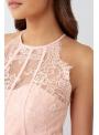 Dámske kvetové biele body so sieťkou cez prsia a chrbát