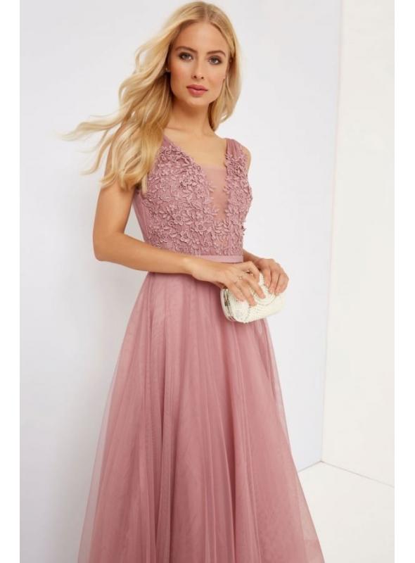 Maxi šaty s vyšívanými kvetmi, staroružové