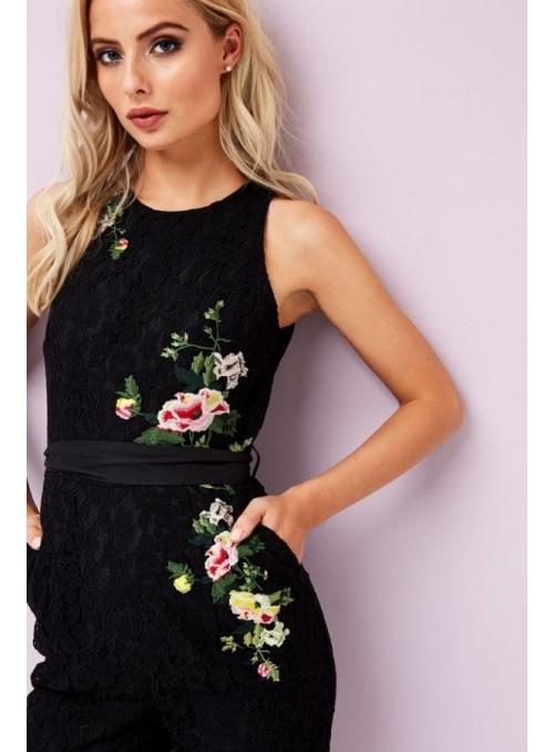 "Overal "" Čierna čipka s kvetmi"""