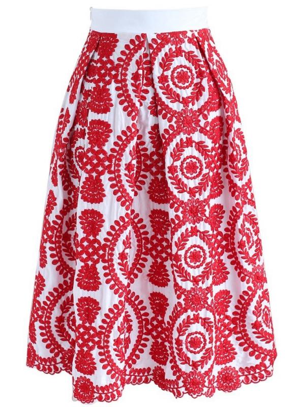 "Midi sukně ""Červený šperk"""