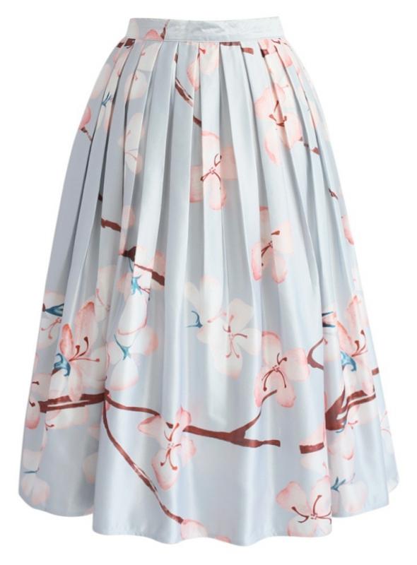 "Midi sukňa ""Kvitnúce čerešne"""
