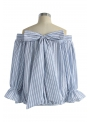 Striped light blue top with bow