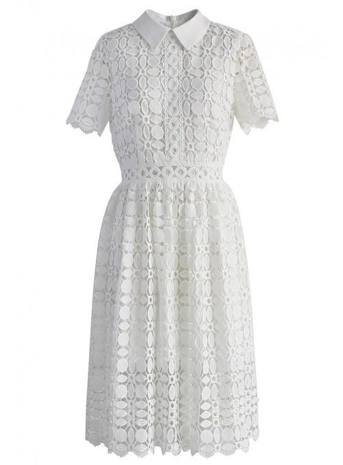 Biele háčkované midi šaty s golierom
