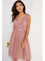 Midi dress with embroidered flowers, mauve