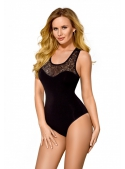 Black bodysuit on straps with lace neckline