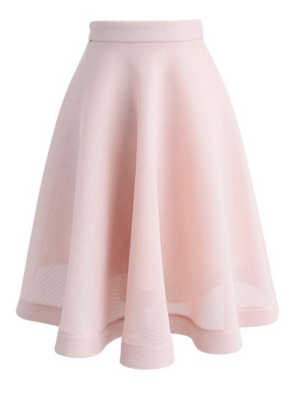 Pudrovo ružová midi sukňa