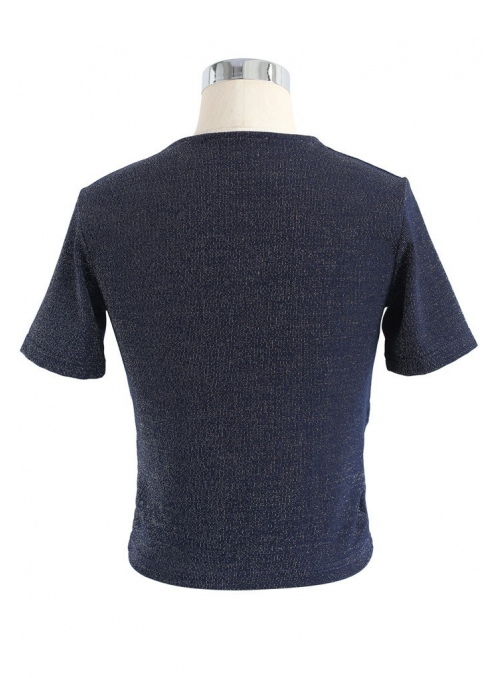 "Crop-top ""Criss-cross"", dark blue"