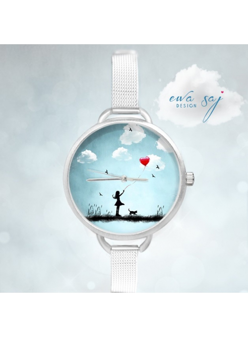 "Hodinky ""AMAZING WALK"" – dámske hodinky dievčatko s balónom"