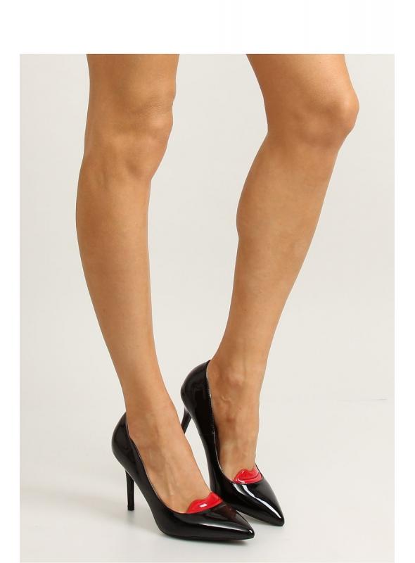 KISS - Black painted ladies high heels with lips detail