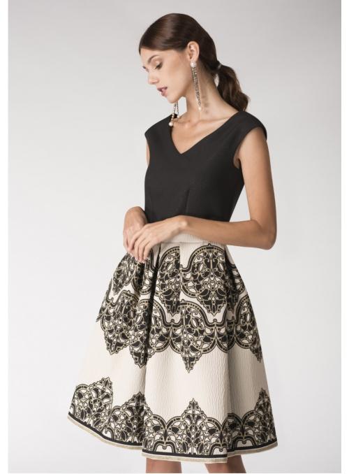 Šaty NÁDYCH ORIENTU- zlato čierne šaty strednej dĺžky