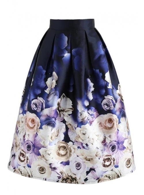 """Midi skirt """"Lullaby of roses"""""""