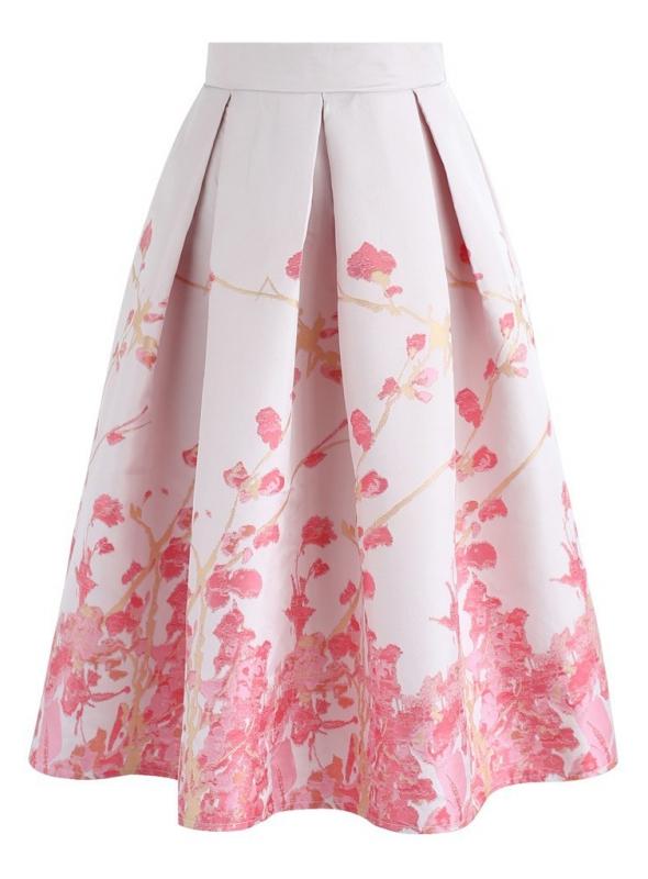"""Midi sukňa """"Ružové lupienky"""""""