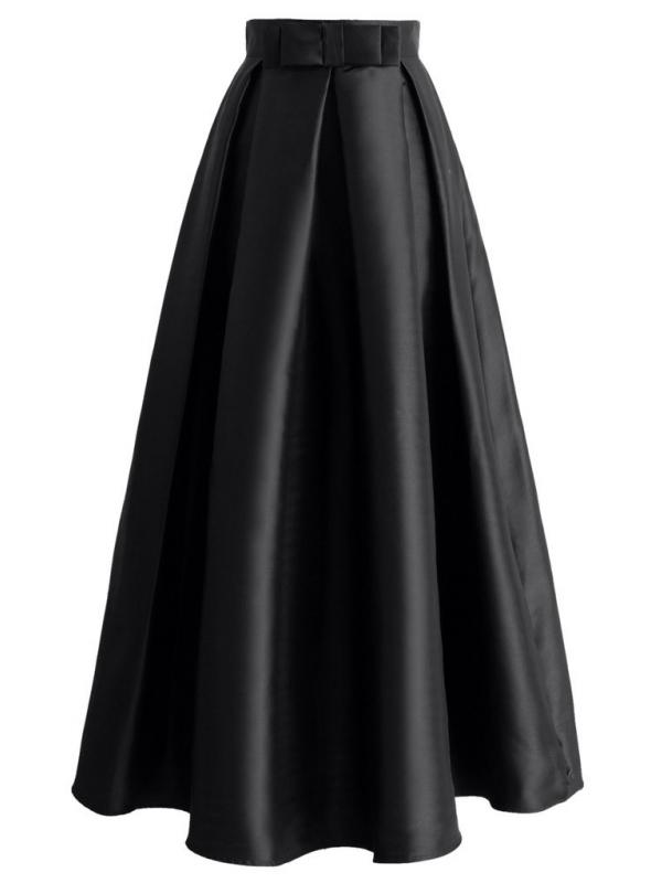 Maxi černá skládaná sukně s mašlí