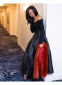 Maxi čierna skladaná sukňa s mašľou