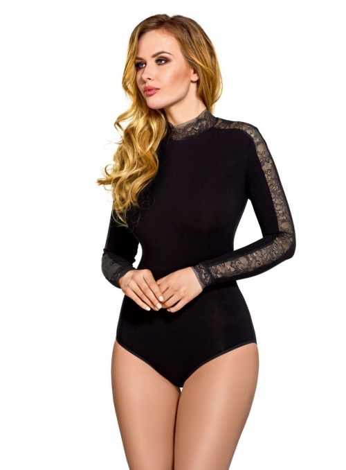 Bodysuit with lace collar and sleeves