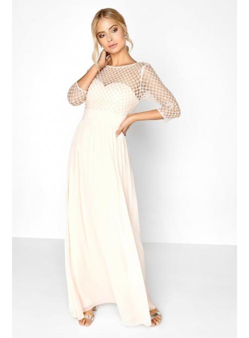 """Maxi šaty """"Béžové perly"""""""