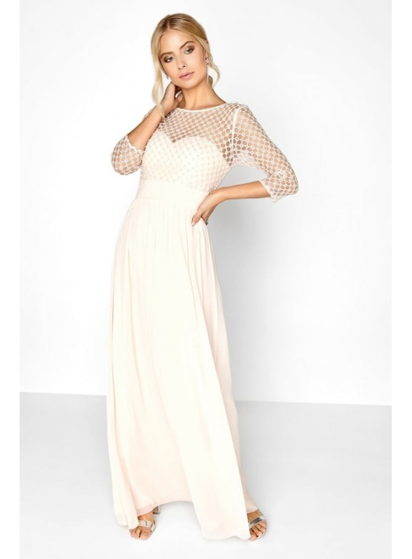 "Maxi Dress ""Beige Pearls"""