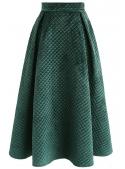Prošívaná midi sukně, zelená