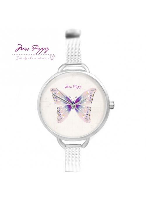 """Hodinky """"V ŠTÝLE MOTÝĽA"""" – dámske hodinky s pudrovým motýľom"""
