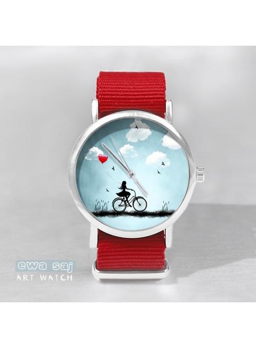 """Hodinky """"STAR GIRL LOVE"""" – dámske hodinky dievča na bicykli s červeným remienkom"""