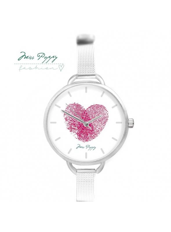 """Hodinky """"DOTYK"""" – dámske hodinky s odtlačkom prsta do tvaru srdca"""