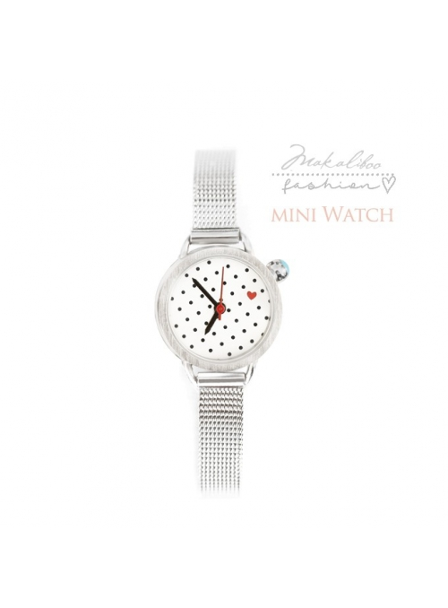 "Watch ""MINI BLACK DOTS"" - dotted ladies watch with a heart"