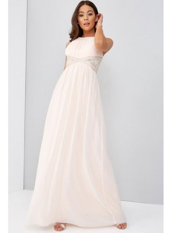 Maxi bledo broskyňové šaty ADELKA